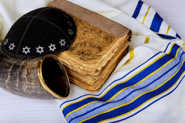 Prayer shawl tallit and shofar horn jewish religious symbol