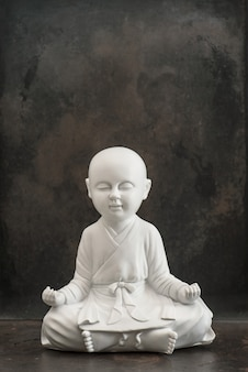 Praying buddha. white monk. meditation and relaxing concept