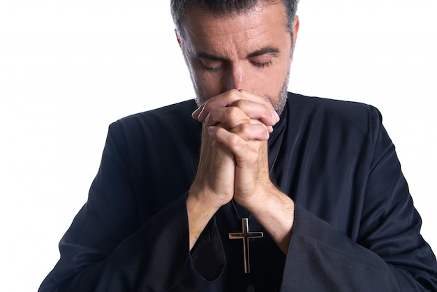 Praying hands priest portrait of male