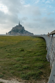 Precious arrival at mont saint-michel in the manche department, normandy region, france