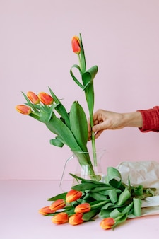 Precious red tulips in a womans hand european woman florist prepares a bouquet of tulips for a