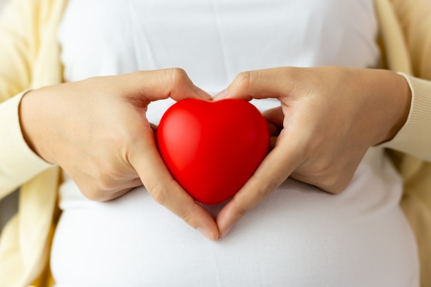 Беременная азиатская женщина использует руки, делая символ сердца и держа красное сердце в руке перед животом матери