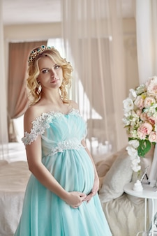 Pregnant bride blonde become a mother and wife
