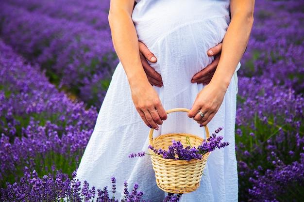 Беременная девушка в лавандовом поле