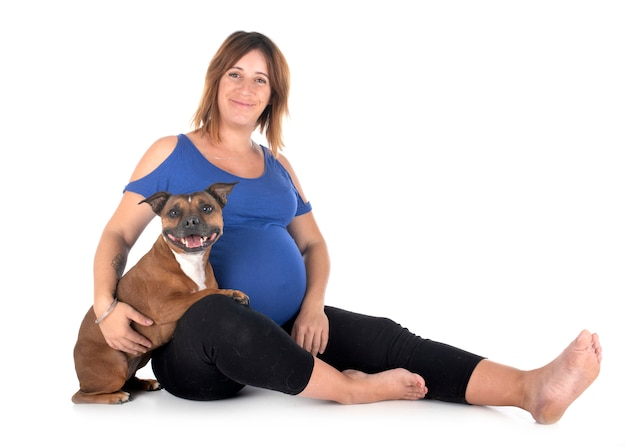 Pregnant woman and dog