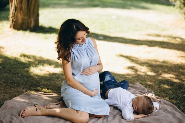 Pregnant woman and her little son having picnic in park
