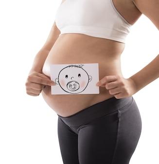 妊娠中の女性は赤ちゃんの顔でカードを保持します