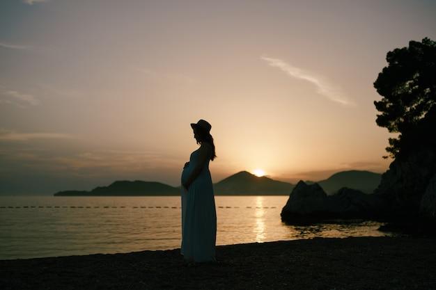 긴 드레스를 입은 임산부는 해질녘 해변에 서 있다