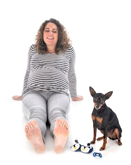 Pregnant woman and pinscher isolated on white