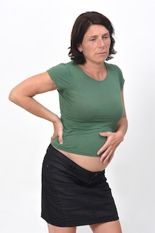 Pregnant woman stomach pain on with background