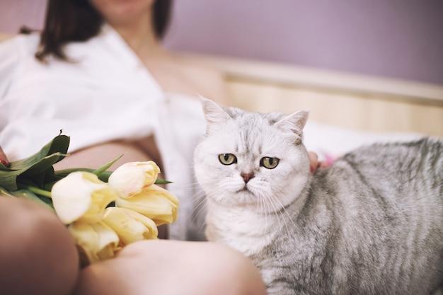 猫を抱く妊婦