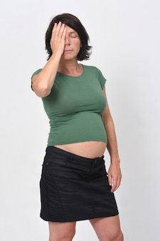 Pregnant woman with headache isolated