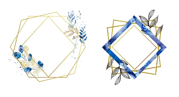 Premade gold and blue geometrical frames