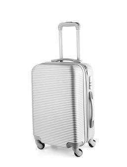 Серый дорожный чемодан премиум-класса на колесиках. сумка-тележка диагональный вид