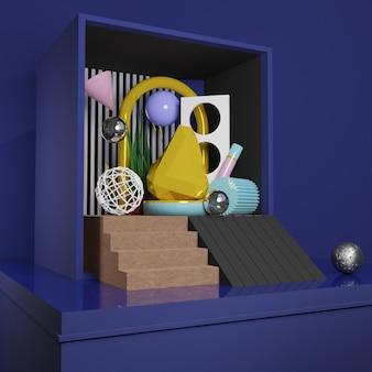 プレミアム画像-ソーシャルメディア投稿用のボックス3dレンダリングのゴールドチャンク時計と抽象オブジェクト