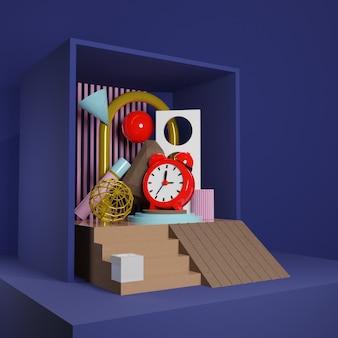 프리미엄 이미지-소셜 미디어 게시물을위한 상자 3d 렌더링의 빨간색 알람 시계 및 추상 개체