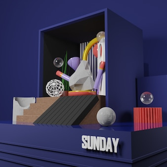 Premium image - stone chunks clock and abstract object in the box with sunday text - 3d rendering for social media post
