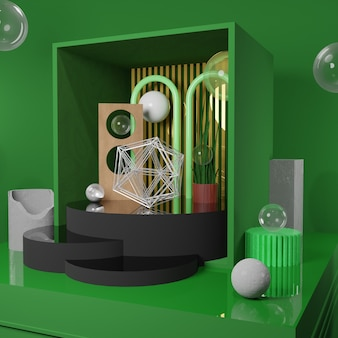 Premium image - stone chunks clock and abstract object in the green box - 3d rendering for social media post