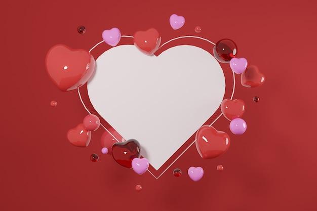 프리미엄 이미지 발렌타인 데이 개념-빈 사랑 프레임 3d 렌더링
