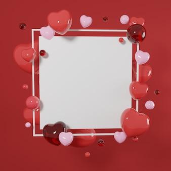 프리미엄 이미지 발렌타인 데이 개념-빈 사각형 프레임 3d 렌더링
