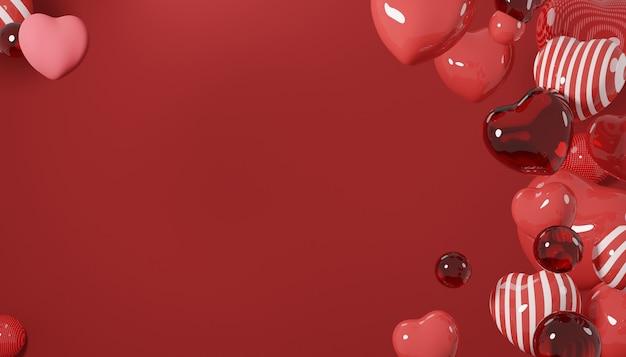 プレミアム画像バレンタインデーのコンセプト愛の背景3dレンダリング