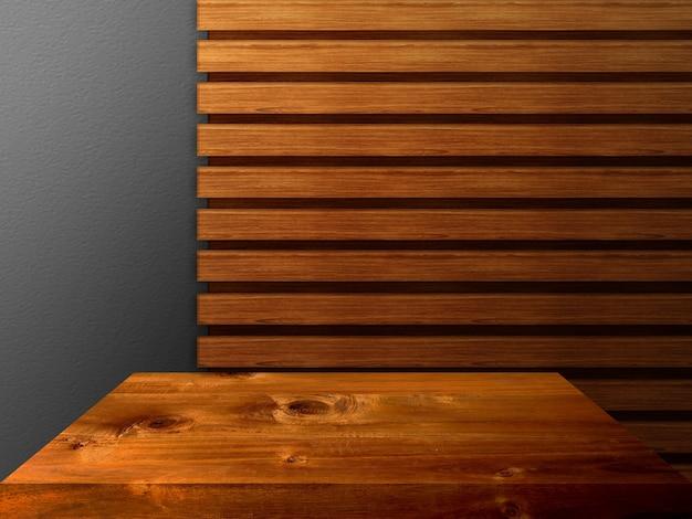 프리미엄 럭셔리 나무 판자 테이블 탑 인테리어 배경 프리미엄 사진