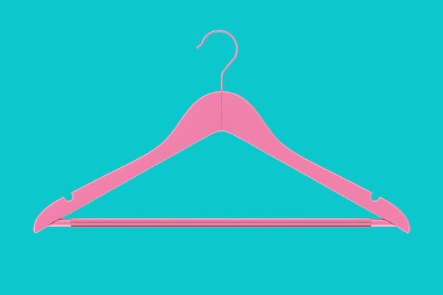 파란색 배경에 이중톤 스타일의 미끄럼 방지 막대가 있는 고급 내츄럴 마감 핑크 행거. 3d 렌더링
