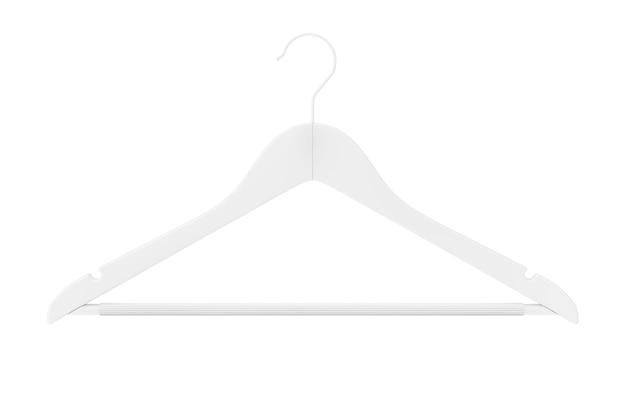파란색 배경에 클레이 스타일의 미끄럼 방지 막대가 있는 프리미엄 내츄럴 마감 흰색 옷걸이. 3d 렌더링