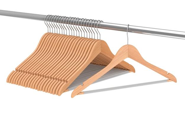 흰색 바탕에 옷걸이 선반에 미끄럼 방지 막대가 있는 고급 천연 마감 나무 옷걸이. 3d 렌더링