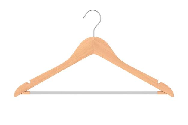 흰색 바탕에 미끄럼 방지 막대가 있는 고급 천연 마감 목재 옷걸이. 3d 렌더링