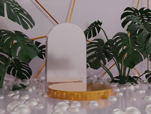 ツリーとプレミアム自然製品表彰台の背景