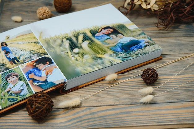Фотокнига премиум-класса, большой размер, переплет из натурального дерева, качественный переплет. семейная фотокнига, воспоминания об отдыхе Premium Фотографии
