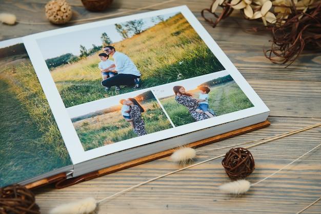 プレミアムフォトブック、ラージサイズ、天然木カバー