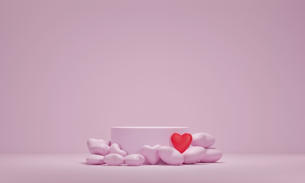 프리미엄 연단과 분홍색 배경에 심장입니다. 발렌타인 데이 휴일 인사말 카드입니다. 3d 렌더링