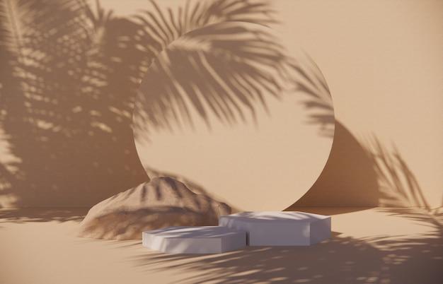 제품 디스플레이를 위한 파스텔 배경의 프리미엄 연단, 벽에 나뭇가지와 그림자가 있는 추상적 기하학적 구성 -3d 렌더. 전시회를 위해 조롱하십시오. 홍보.