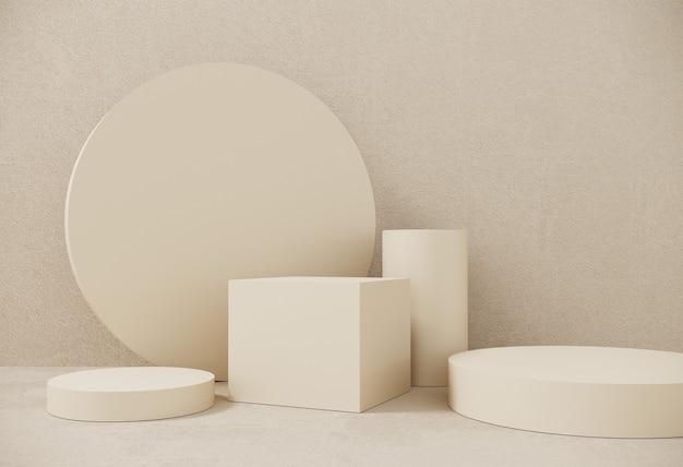 プレミアム表彰台、展示会、製品のプレゼンテーションのためのパステル紙の背景の上に立つ。幾何学的なオブジェクト、ボックスの抽象的な構成。