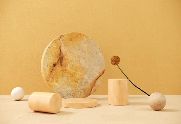 製品、プレゼンテーションを宣伝するための花と天然石を使ったプレミアム表彰台。