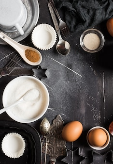 Preparation baking kitchen ingredients for cooking frame