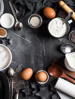 Preparation baking kitchen ingredients for cooking