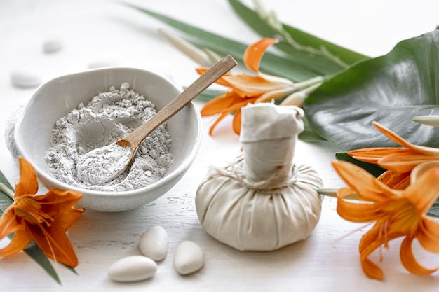 Preparation of a cosmetic mask from natural ingredients, facial skin care at home or in a spa salon.