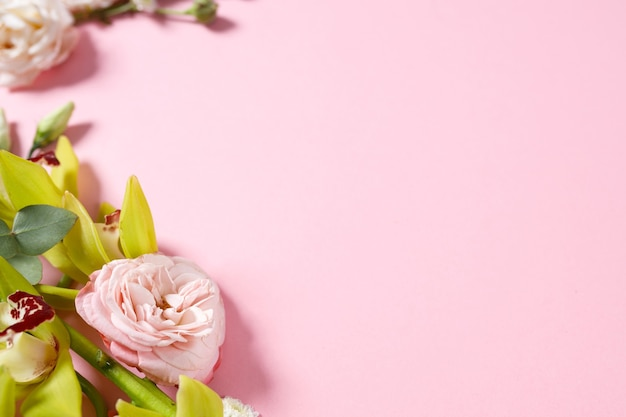 Preparation for a future postcard. pink flowers on a pink background with space for text
