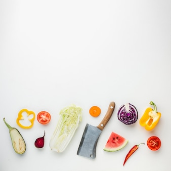 Preparation of a healthy meal on white background