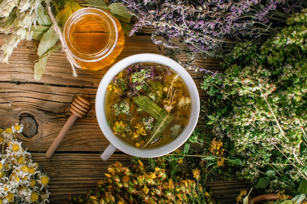 Preparation of herbs, homeopathy, dried flowers and honey