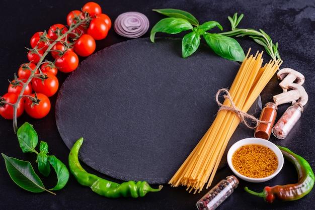Preparation of tasty fresh pasta with vegetables