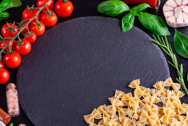 Preparation of tasty fresh pasta with vegetables