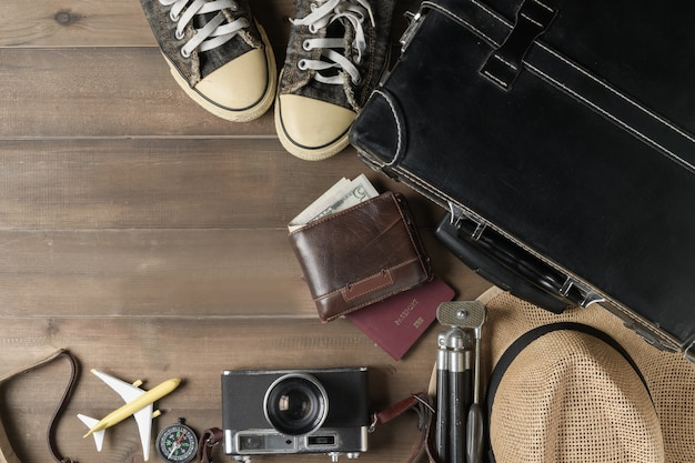 Prepare accessories for travel on vintage tone