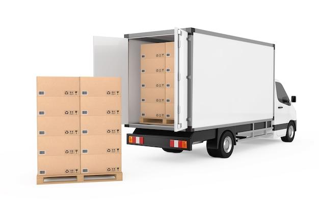Подготовьте концепцию доставки. белый коммерческий промышленный грузовик фургон доставки грузов возле стога картонных коробок на поддоне на белом фоне. 3d рендеринг