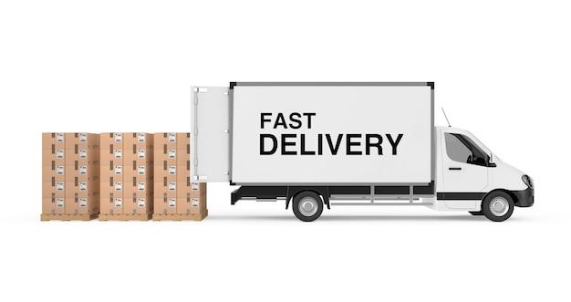 Подготовьте концепцию доставки. белый коммерческий промышленный грузовик фургон с знаком быстрой доставки возле стопки картонных коробок на поддоне на белом фоне. 3d рендеринг