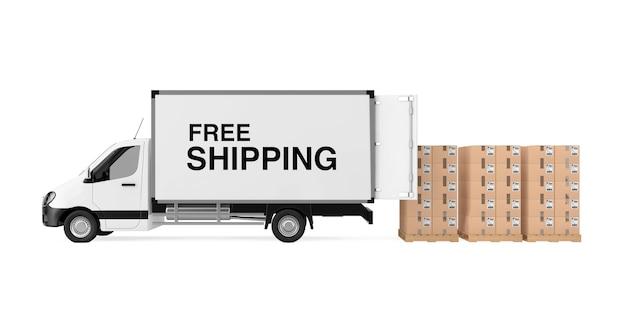 Подготовьте концепцию доставки. белый коммерческий промышленный грузовой автомобиль фургон с знаком бесплатной доставки возле стопки картонных коробок на поддоне на белом фоне. 3d рендеринг