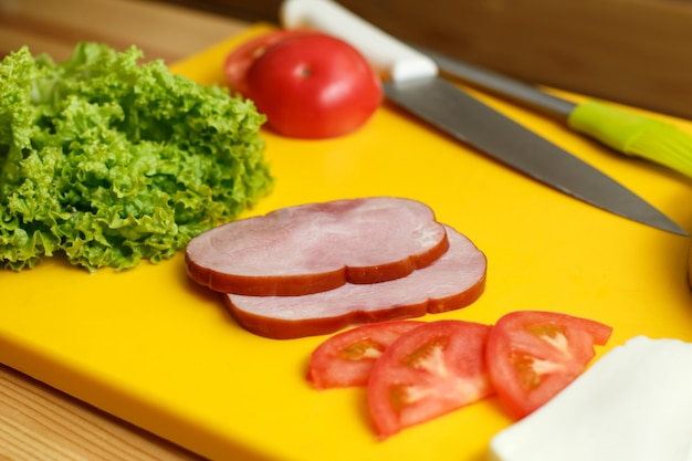 Prepared ingradient for cooking sandwich. cooking from fresh vegetables
